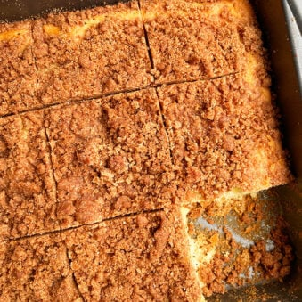 Easy Cinnamon Crumb Cake Made With Cake Mix in Square Pan