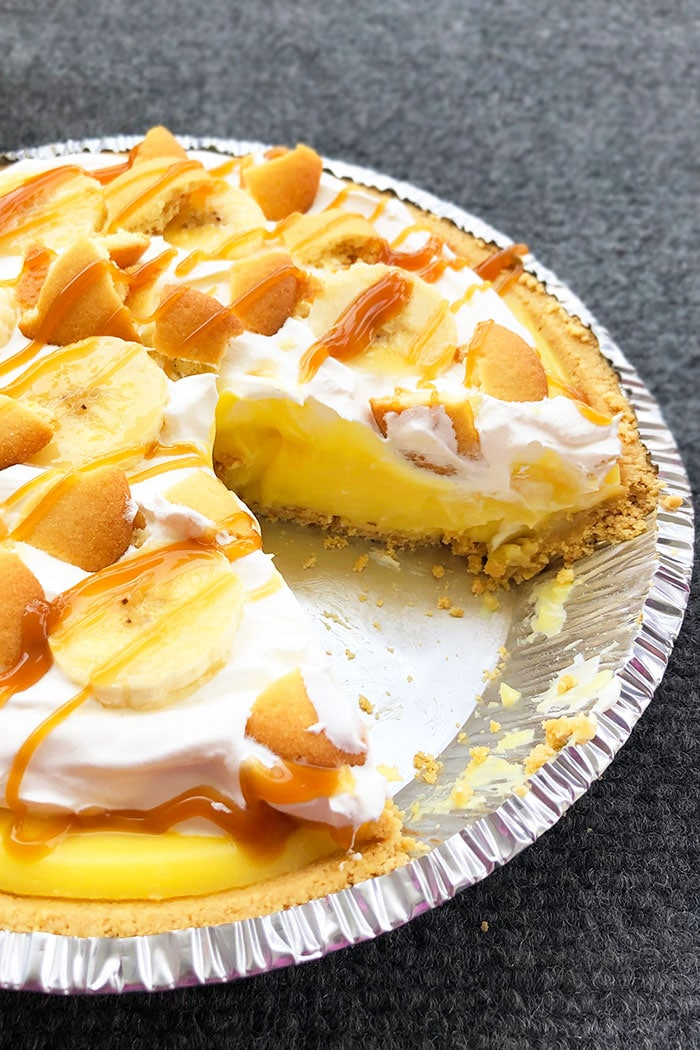 Easy Homemade Banana Pudding Pie With One Slice Removed