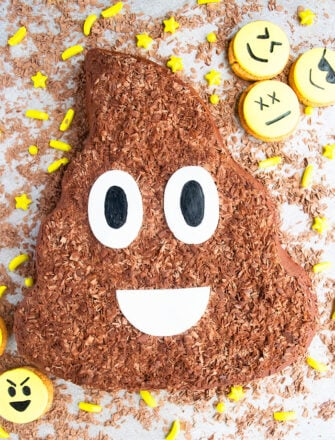Easy Emoji Cake on Gray Background With Emoji Cookies