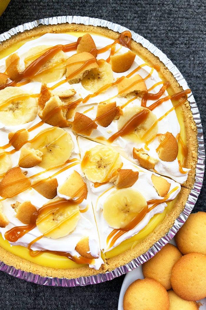 Easy No Bake Summer Pie on Gray Background- Overhead Shot
