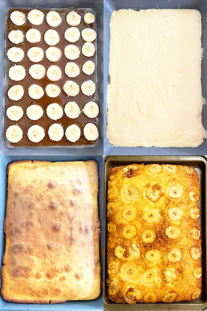 Collage Image With Step by Step Pictures On How to Make Banana Upside Down Cake
