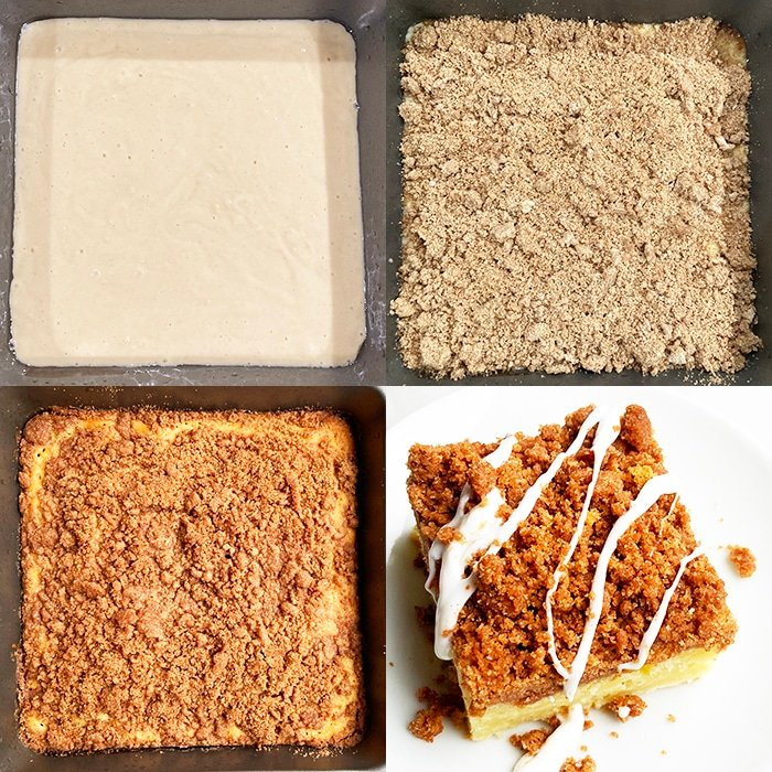 Collage Image With Step By Step Pictures on How to Make Crumb Cake With Cake Mix