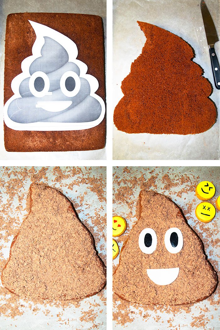 Collage Image With Step by Step Pictured on How to Make Poop Cake