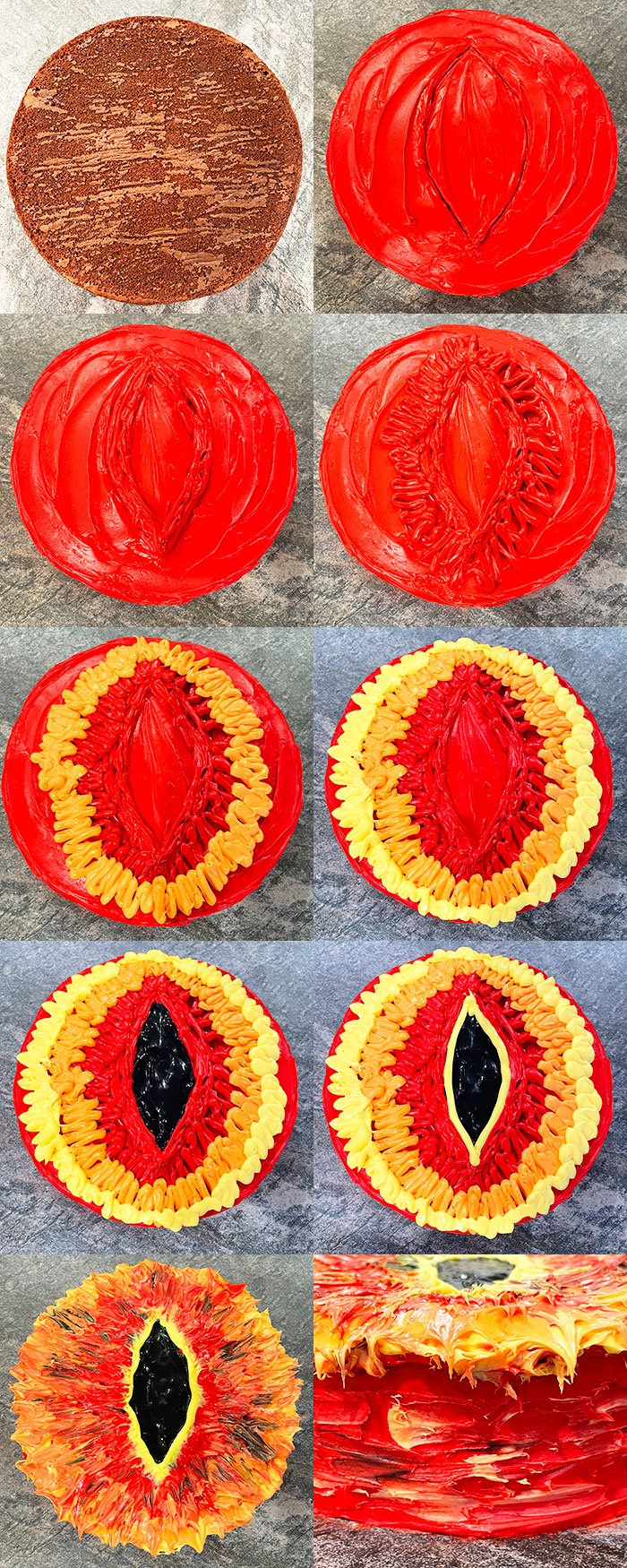 Collage Image With Step by Step Process Shots on How to Make Lord of the Rings Cake (Sauron Eye Cake)