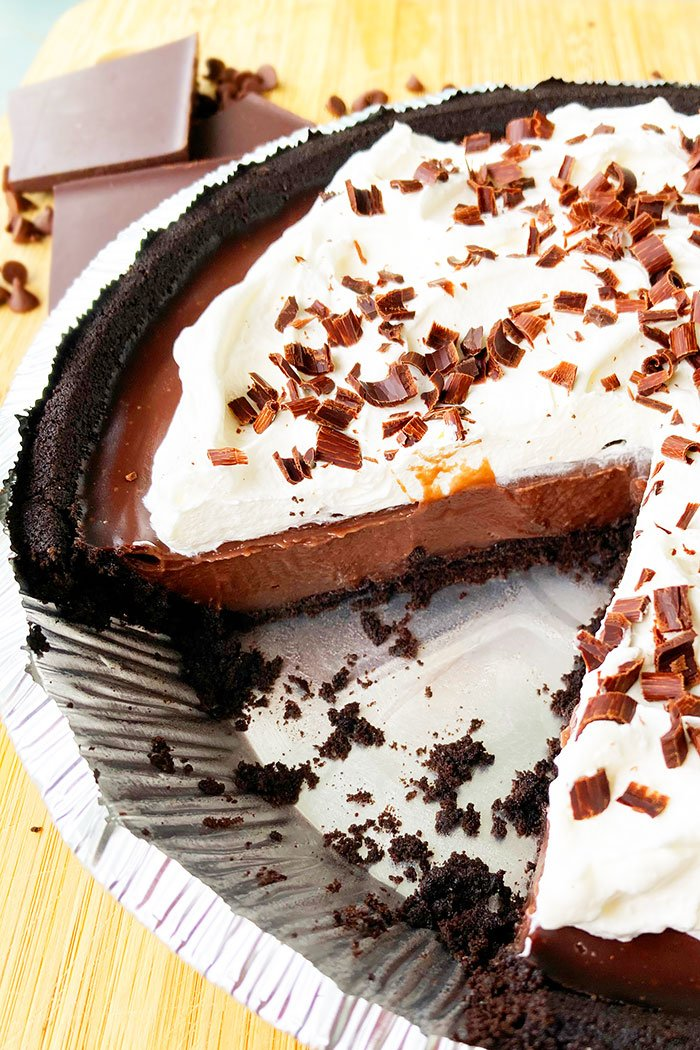 No Bake Chocolate Pudding Pie With One Slice Removed