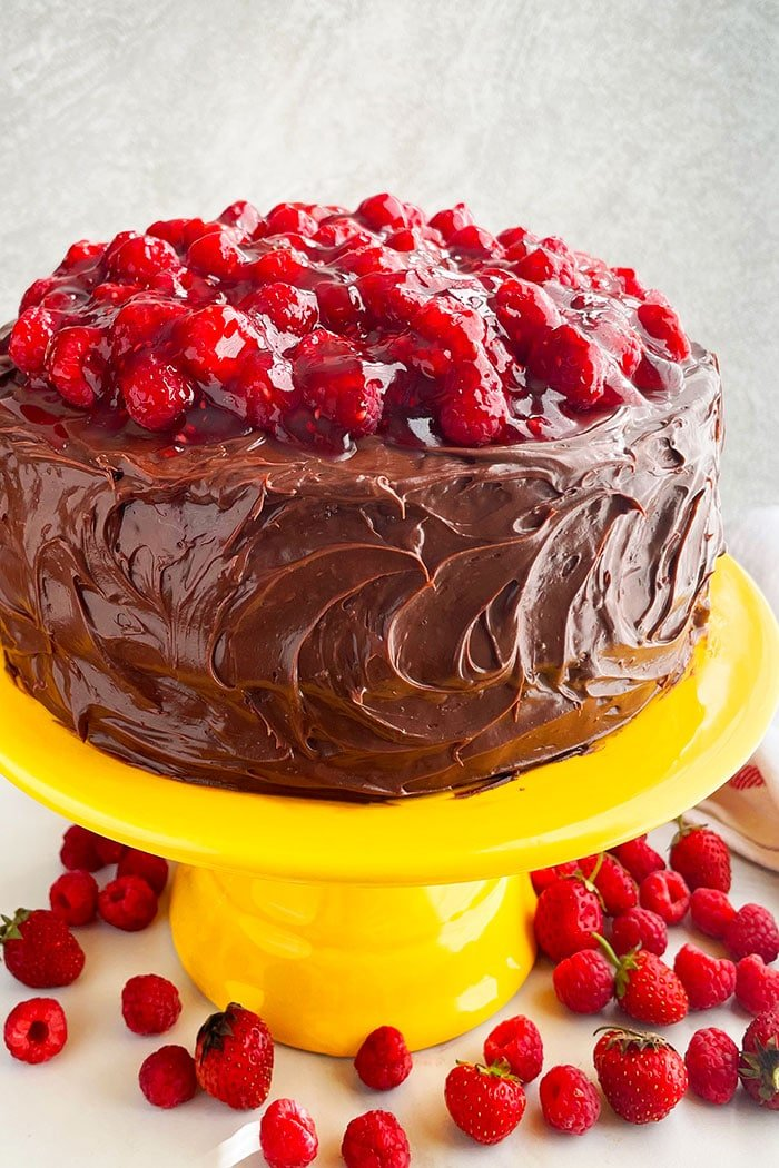 Chocolate Raspberry Cake {With Cake Mix}