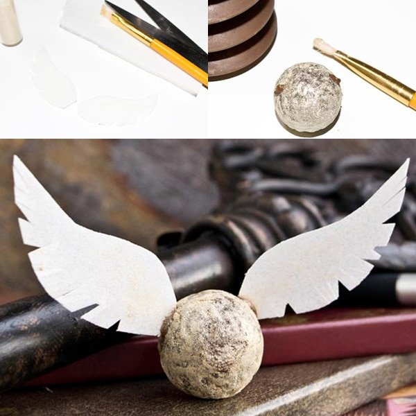 Collage Image With Step by Step Pictures on How to Make Golden Snitch Truffles