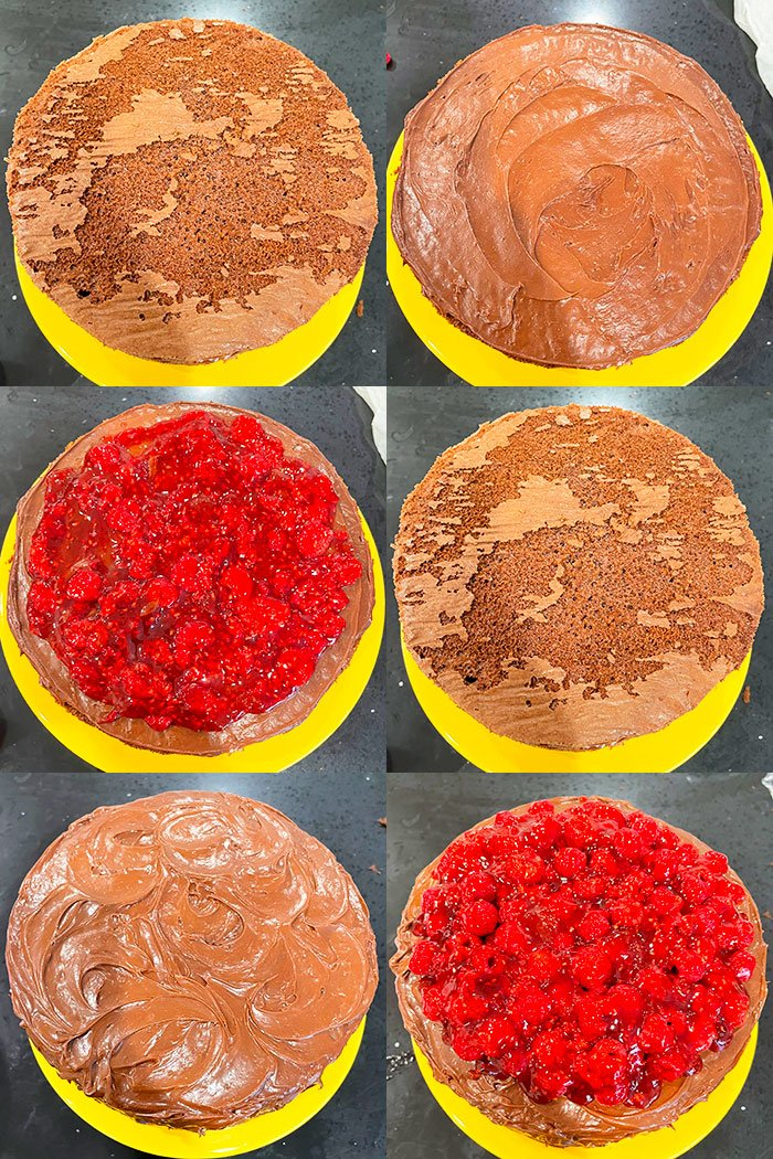 Collage Image With Step By Step Pictures on How to Make Chocolate and Raspberry Cake With Cake Mix