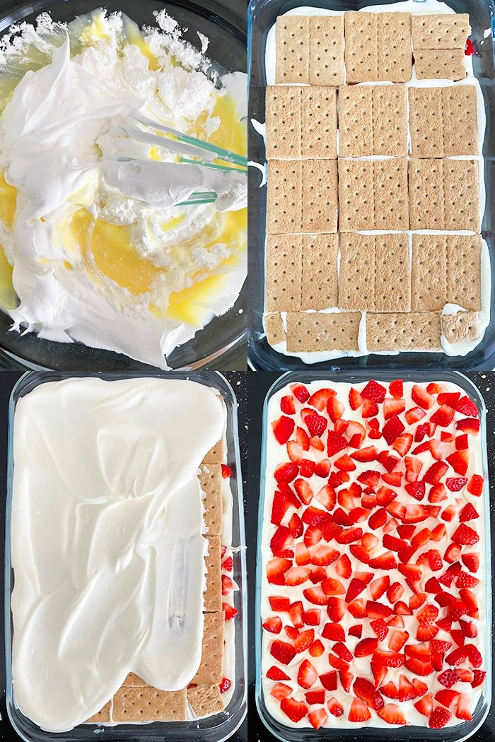 Collage Image With Step By Step Pictures on How to Make Icebox Cake