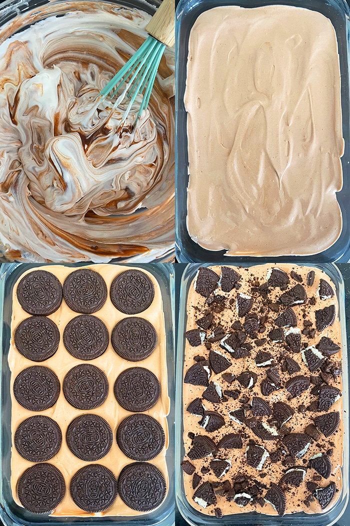 Collage Image With Step by Step Pictures on How to Make Refrigerator Cake