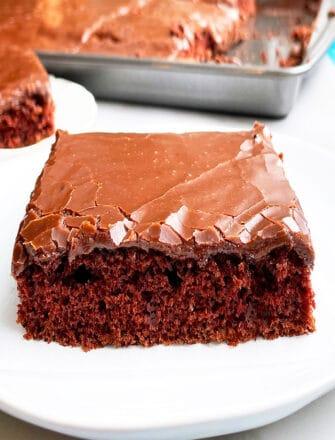 Slice of Texas Sheet Cake With Chocolate Glaze on White Plate