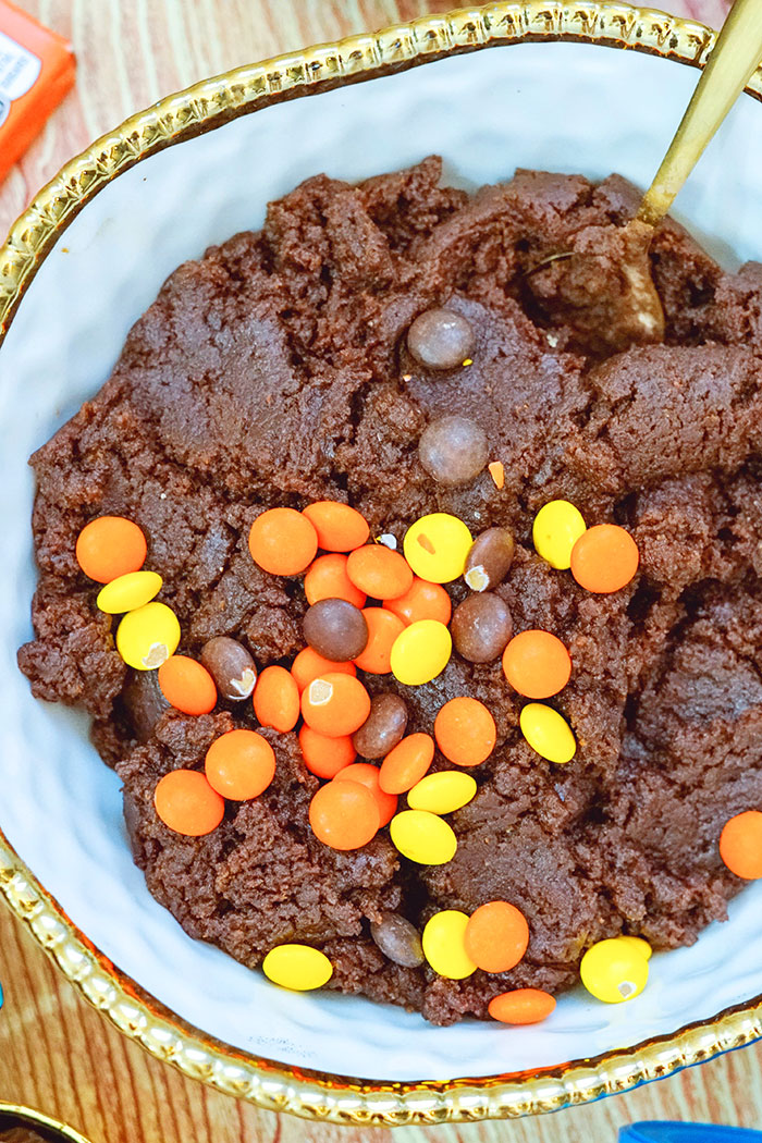 Reeses Pieces Cookie Dough in White Bowl- Overhead Shot