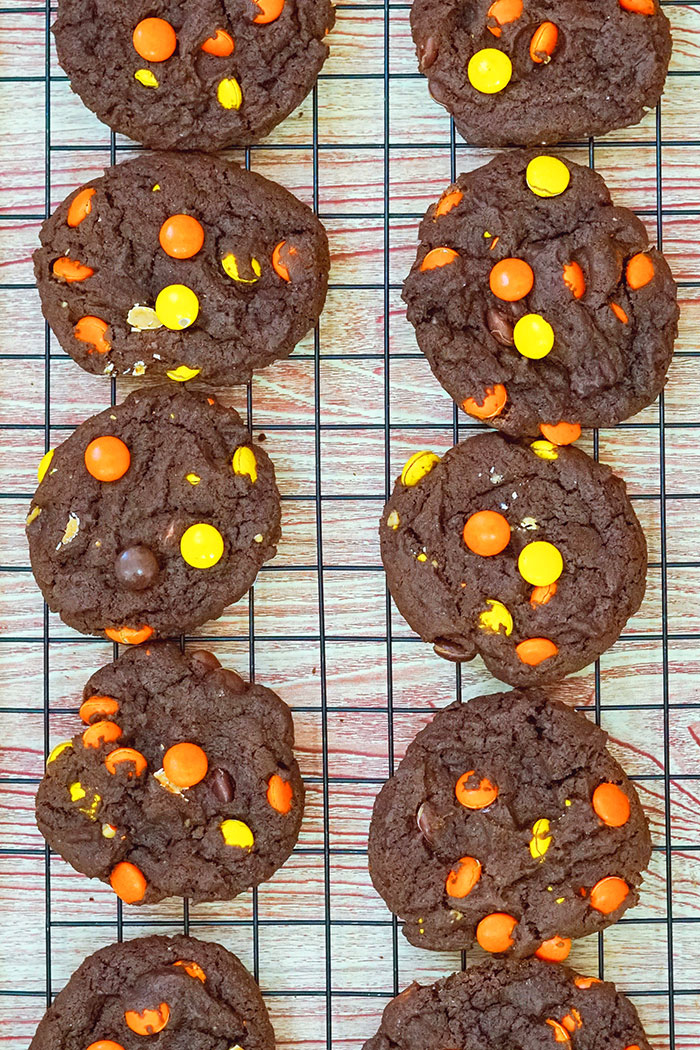 Chocolate Peanut Butter Cookies With Reeses Pieces on Black Cooling Rack- Overhead Shot